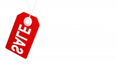 Big sale animation with red tags for shopping sales and promotions Stock Footage