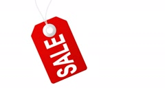 Sale animation with red tags for shopping sales and promotions Stock Footage