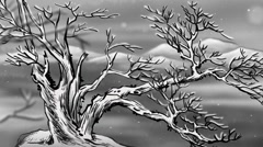 The withered tree in the snow Stock Footage