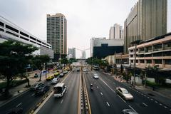 View of traffic on Thanon Si Ayutthaya, in Bangkok, Thailand. - stock photo