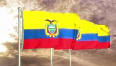Three flags of Ecuador waving in the wind (4K) Stock Footage