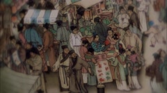 In ancient China mart. China ink animation Stock Footage