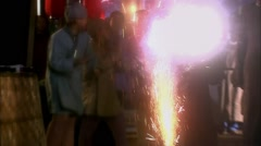 Children lighting fireworks in china Stock Footage