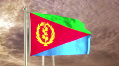 Three flags of Eritrea waving in the wind (4K) Stock Footage