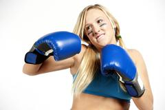 Boxing Female Blond Stock Photos