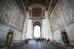 The interior of the Arc de Triomphe, in Paris, France. - stock photo