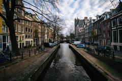 The Leliegracht canal, in Amsterdam, The Netherlands. - stock photo