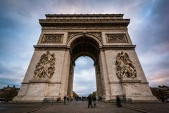The Arc de Triomphe, in Paris, France. - stock photo