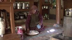 Preparing bread in Rumbak village. Stock Footage