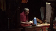 Puja in Tibetan Monastery richtung Padum. Stock Footage