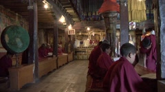 Puja in Tibetan Monastery Thiksey. Stock Footage