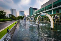 Stock Photo of Fountains at the King Power Complex in Bangkok, Thailand.