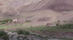 View over traditional village in ladakhian Himalayan valley Stock Footage