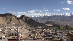 View over Buddhist Leh and Indus Valley in Ladakh in the Himalayas Stock Footage