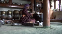 Woman cooking food in traditional kitchen 7 Stock Footage
