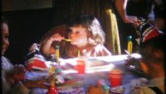 2991 - children enjoy ice cream & cake at birthday party-vintage film home movie Stock Footage