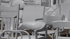 185 empty white chairs Sculpture IN Christchurch New Zealand Stock Footage