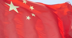 4k Chinese flag flutters in wind. Stock Footage
