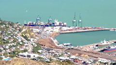 Aerial view of Lyttelton Port of Christchurch New Zealand Stock Footage