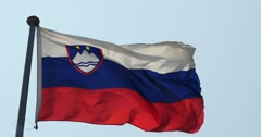 4k Slovenia flag flutters in wind. Stock Footage