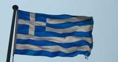 4k Greece flag is fluttering in wind. Stock Footage