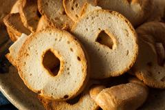Homemade Whole Wheat Bagel Chips Stock Photos