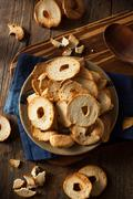 Homemade Whole Wheat Bagel Chips - stock photo
