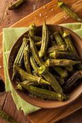 Green Organic Roasted Okra Stock Photos