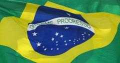 4k Brazil flag flutters in wind. Stock Footage