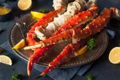 Stock Photo of Cooked Organic Alaskan King Crab Legs
