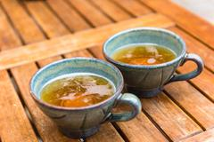Norman apple cider in a typical ceramic cups Stock Photos