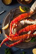 Cooked Organic Alaskan King Crab Legs - stock photo
