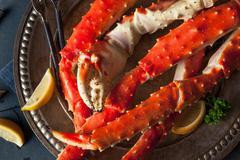 Cooked Organic Alaskan King Crab Legs Stock Photos
