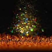 glitter vintage lights background. dark gold and black. Christmas card - stock photo