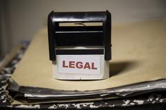 Legal stamp on a big folder of paperwork Stock Illustration