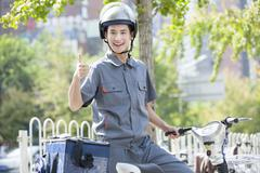 Take-out deliveryman Stock Photos