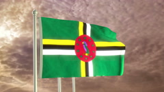 Three flags of Commonwealth of Dominica waving in the wind (4K) - stock footage