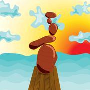 Zen stones at the pier, surrealism. - stock illustration