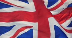 4k Britain flag is fluttering in wind. Stock Footage