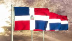 Three flags of Dominican Republic waving in the wind (4K) Stock Footage