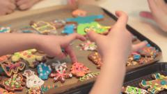 Little boy cooking gingerbread cookies. - stock footage