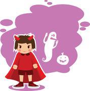 Flat Halloween imp - stock illustration