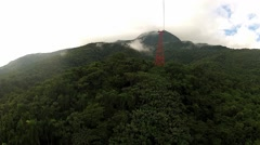 View to the tropical forest from the moving cable car gondola. Stock Footage