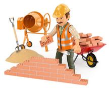 3D Construction worker building a brick wall - stock illustration