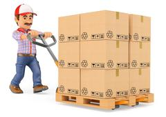 Stock Illustration of 3D Courier delivery man pushing a pallet truck with boxes