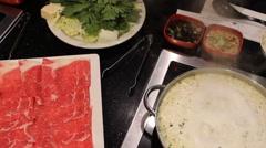 Shabu Shabu Cooking - Beef & Vegetables Stock Footage