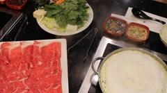 Shabu Shabu Ingredient - Fresh Beef & Fresh Vegetables - stock footage