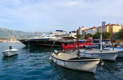 Pleasure boats and yachts at the pier, Budva, Montenegro Stock Photos