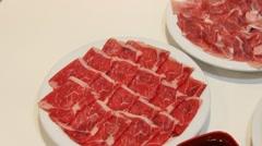 Shabu Shabu Ingredient - Fresh Beef - stock footage