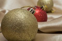 Close-up of decorated x-mas tree - stock photo